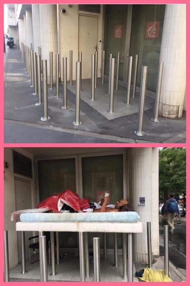 Falso: Universal instala postes de metal para afastar moradores de rua