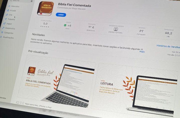 Bíblia com Anotações de Fé do Bispo Macedo ganha versão para Desktop MacOS